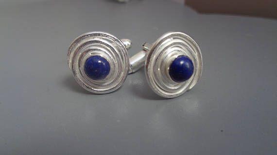 Sterling Silver Cufflinks With Lapis Lazuli Semi-Preciouse
