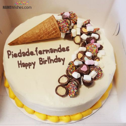 The name [piedadefernandes] is generated on Write Name on Ice Cream Cake And Wish Awesomely image. Download and share Birthday Cakes With Name images and impress your friends.