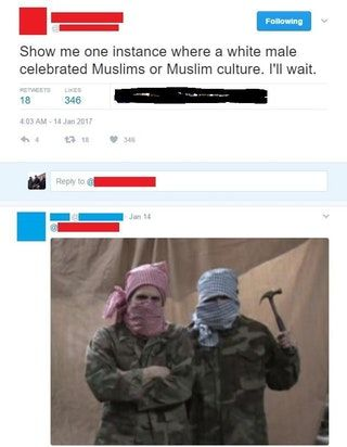 nice Show me one instance where a white male celebrated Muslims (x-post r/TumblrInAction)