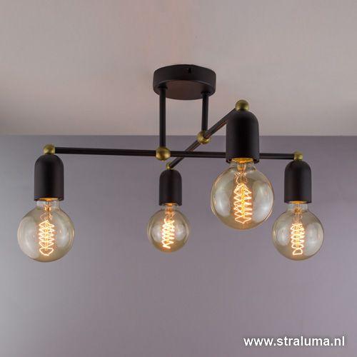 Landelijk klassieke plafondlamp zwart - www.straluma.nl
