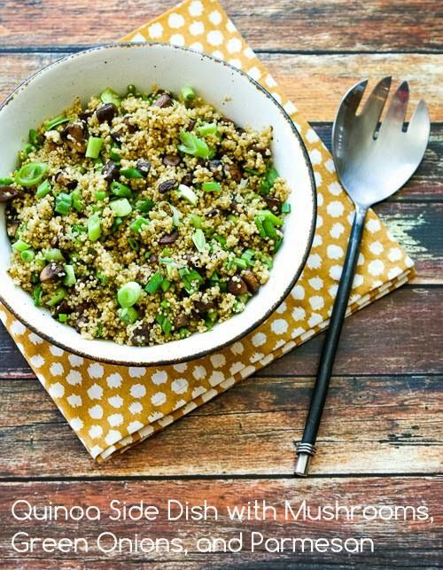 Quinoa Side Dish with Mushrooms, Green Onions, and Parmesan