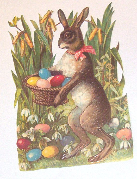New German Large diecut scrap Cute Easter bunny rabbit w eggs grass scrapbooking card making paper art craft EF 5051