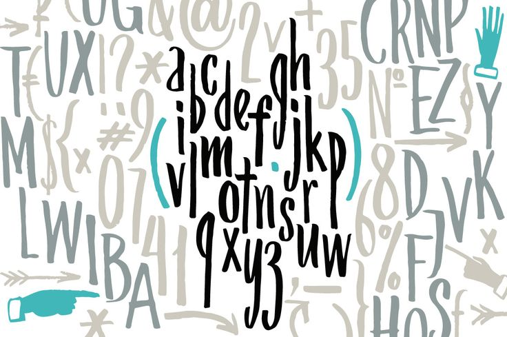 Condensed handwritten letters, signs by Vera Holera on Creative Market
