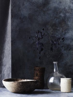 simple vessels against a beautiful charcoal grey wall #wabisabi