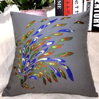 China Wholesale Factory Price Decorative Cushion Cover Hand Embroidery Cushion Pillow