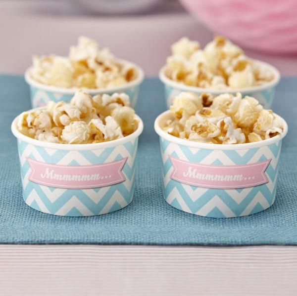 These treat tubs are perfect for candy bars, ice cream and small treats at your next party! Each tub is pastel mint green chevron with pink.   They come with the word 'Mmmmmm' on the front and there are 8 in the pack.   147ml in size. Great for any p