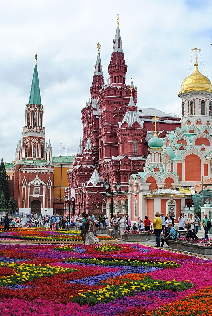 Flowers on the Red Square in Moscow, Russia.