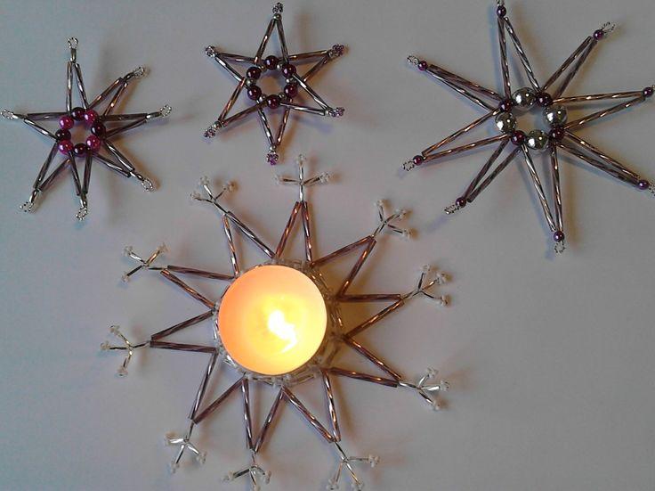 Vánoční ozdoby sada 4ks fialovo-stříbrná