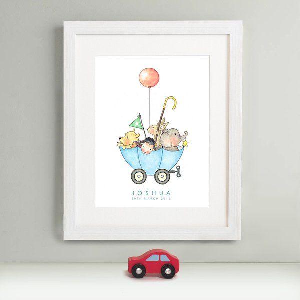 """ Corky Clockworks - Blue Umbrella"" - personalised nursey print"