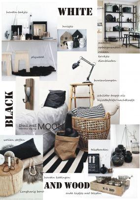 moodboard zwart wit hout