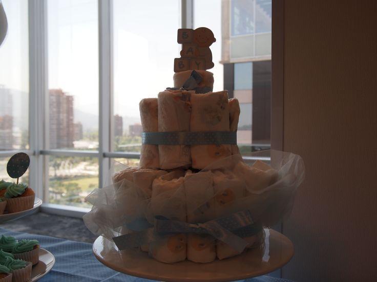 Torta de pañales para recién nacido