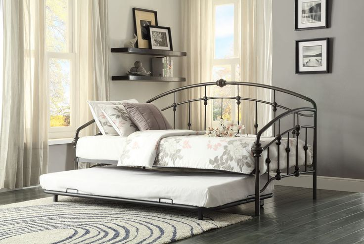 Home Elegance Ruby Metal Daybed with Trundle 4962DB-NT