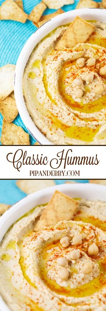 Classic Hummus | This is SO easy to make, with only a few ingredients and seriously 10 minutes of your time. Forget about the store-bought hummus with preservatives! This is way tastier. Great as a snack or appetizer!