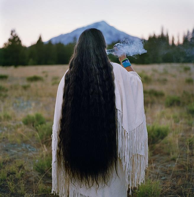 "Caleen Sisk is the spiritual leader and the tribal chief of the Winnemem Wintu tribe—and a last speaker of the language that sustains her people's identity. For a hundred years, the tribe has been fighting with the U.S. government over its territory along the McCloud River, abutting Mount Shasta, which they consider their birthplace. Loss of land and loss of language are connected, says Sisk. ""This land is our church."" #WomenWednesday {Photo © L. Johnson}"