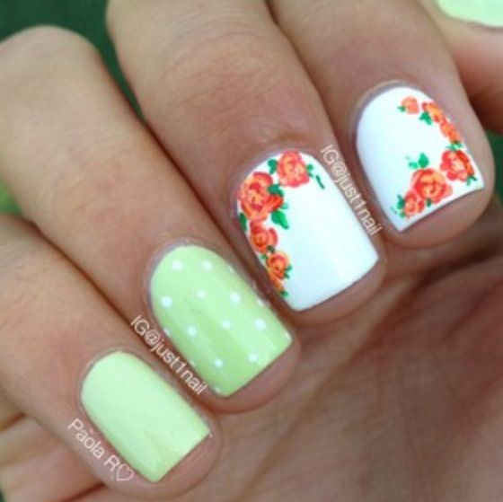 Floral and polka dots by just1nail on IG