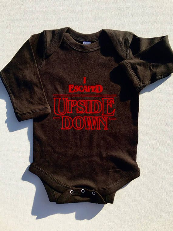 """Stranger Things Baby Clothes Onesie """"I Escaped Upside Down""""  The perfect baby shower, birthday, Christmas, holiday, or new mom new parent gift idea for fans of Stranger Things on Netflix! This cute Stranger Things outfit is perfect for babies or toddlers. #Affiliate"""