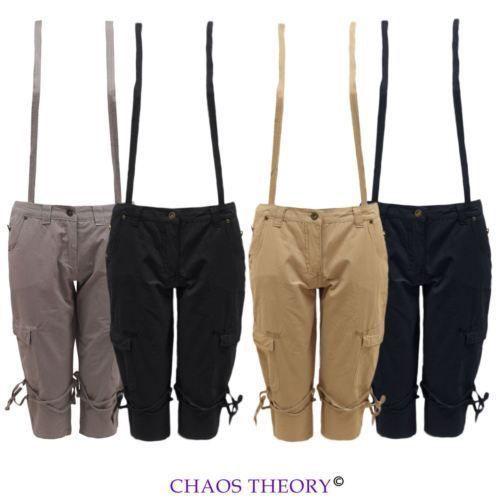 Ladies Womens Dungarees Braces Pockets 3/4 Capri Pants Shorts Trousers