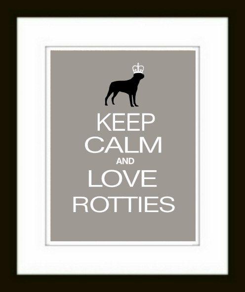 Rottweiler Art Print Keep Calm and Love Rotweilers // Gift // Wall Decor // Dog Art //