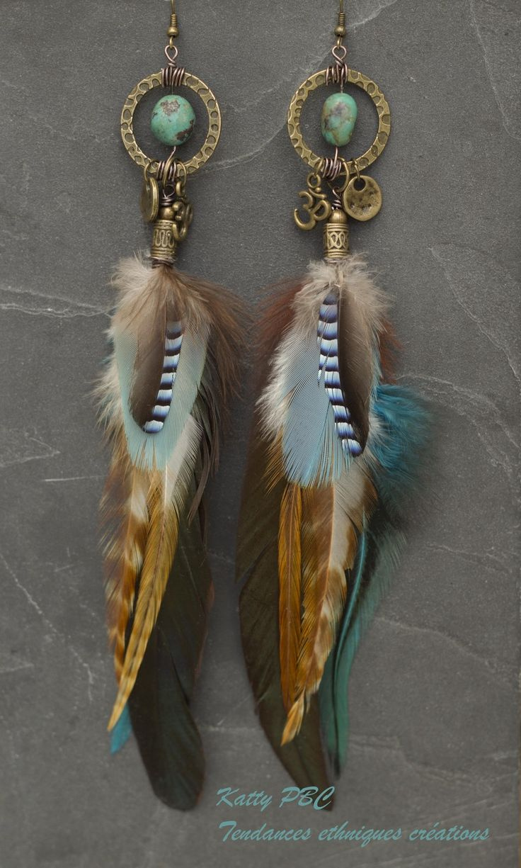 Boucle d'oreille plume bleu vert