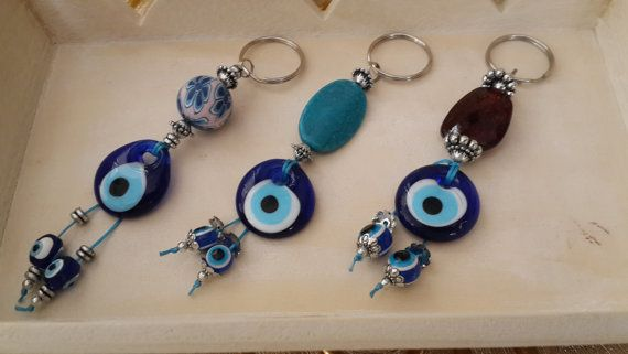 Set of 3 Evil Eye Key Chains Handmade Turkish glass by Myowncoffee
