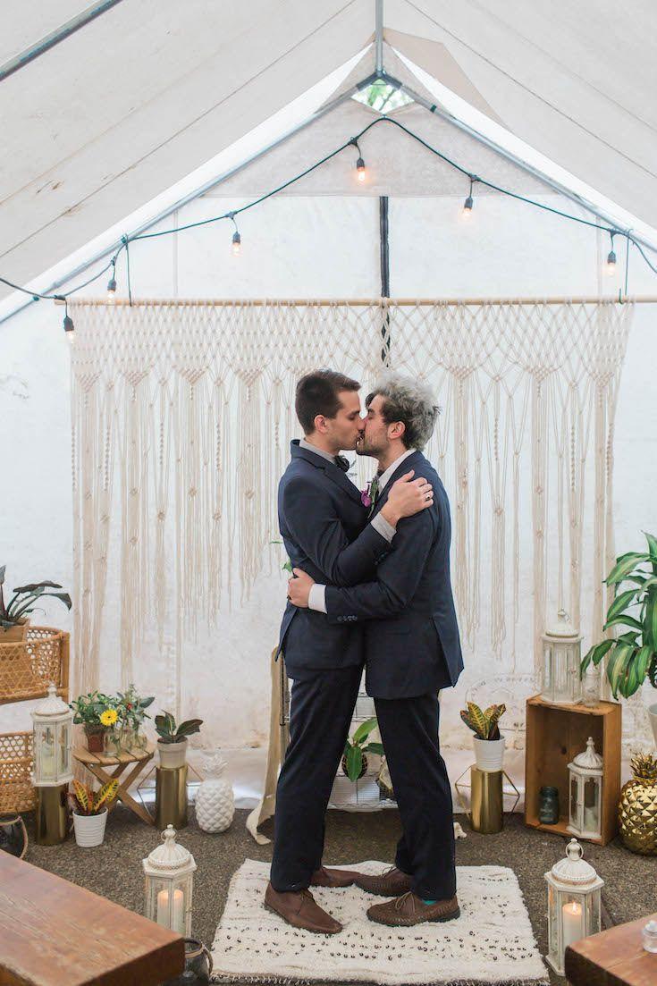 Boho wedding ceremony style with macrame backdrop   #wedding #ceremony #macrame #twogrooms #mrandmr #samesexwedding #gaywedding #lgbt #gay #lgbtwedding