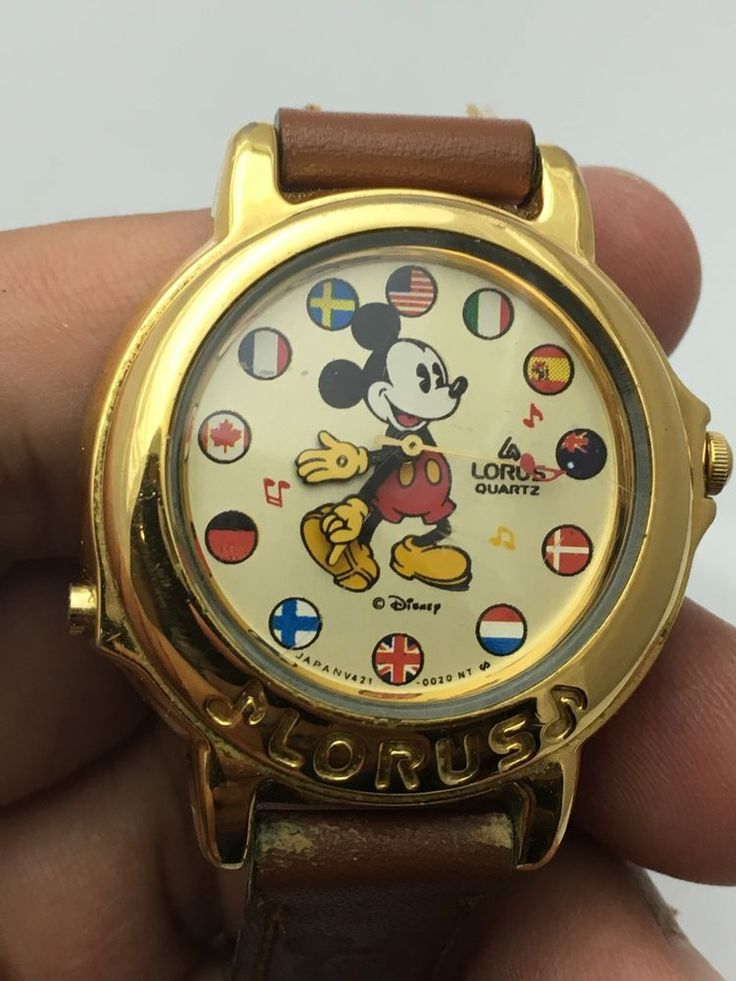 Mickey Mouse Gold Tone Disney Lorus Flag Musical Plays Its A Small World Watch #Lorus