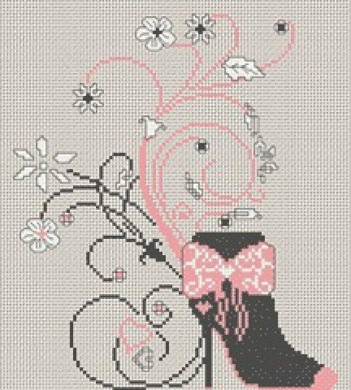 0 point de croix chaussure botte et fleurs - cross stitch boots and flowers