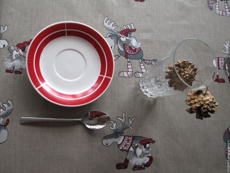 """Купить Скатерть """"Новогодние шведские гномики"""" скатерть скатерть - скатерть, купить скатерть, скатерть с кружевом #cloth #holidays #cozyhouse #design #interior"""