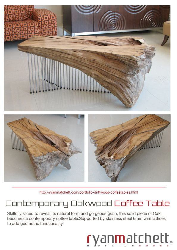Contemporary Oak Wood Coffee Table