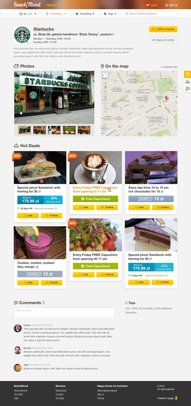 Snack Mood Locaton Page by FireArt Studio