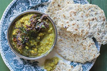 Coconut roti with dhal
