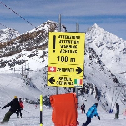 Ski one way to Zervatt, Switzerland or the other way to Cervinia, Italy