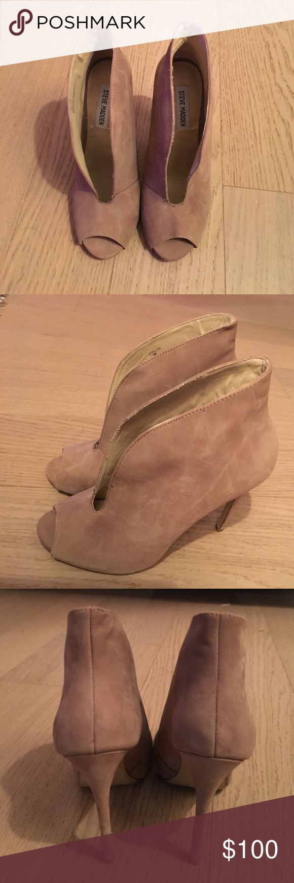 Suede Steve Madden open toe booties. Suede Steve Madden open toe booties. Worn less than a handful of times because I bought them 1/2 a size too big. Steve Madden Shoes Ankle Boots & Booties
