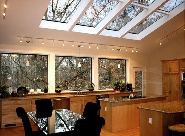 20 Beautiful Kitchen Designs With Skylights Skylight Kitchen Kitchen Lighting Design Vaulted Ceiling Kitchen