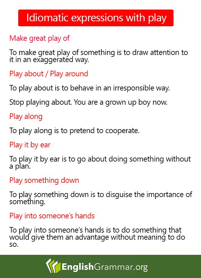 Idiomatic Expressions with Play
