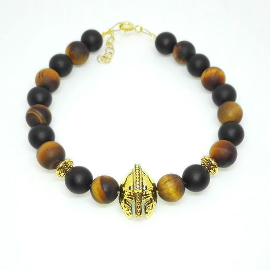 HANDMADE BRACELET TIGER EYE BLACK ONYX MAT SPARTAN GOLD with Gemstones of Tiger Eye 8mm and Mat Black Onyx 8mm, Goldplated Metallic Helmet and Goldplated Silver Chain and Clasps. | Crystal Pepper