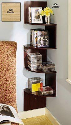 This is a great corner shelf, perhaps could use it as shelf and end-table combination in living room.