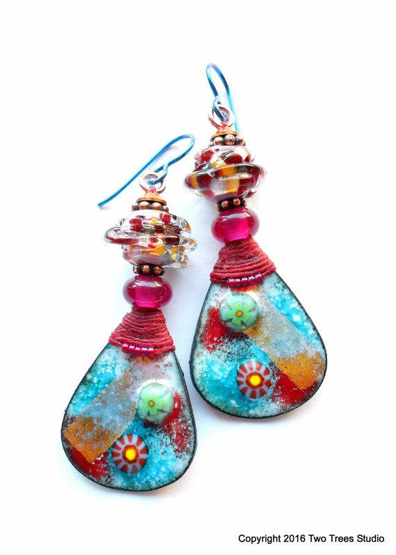 Harlequin: These brightly beautiful earrings are colorfully Boho, with a wonderful touch of whimsy.  By Two Trees Studio.