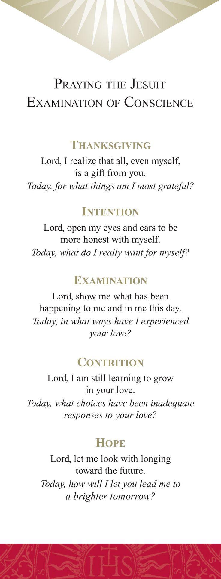 Ignatian examen prayer card - Google Search