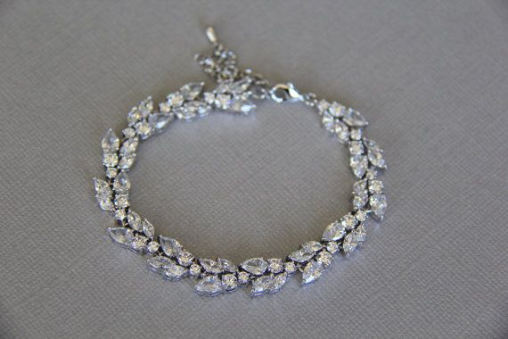 Cubic zirconia bracelet bridal bracelet wedding by terihuang