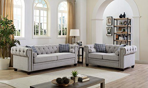 2 Piece Linen Fabric Tufted Button Nailhead Trim Design, Scrolled Arm  Chesterfield Style With
