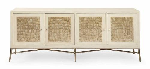 341-132 Salon Buffet | Bernhardt W 79 D 20.5 H 32 Capiz Shell Inset Doors #BuffetOnLegs #7Foot #LightFinish $3600