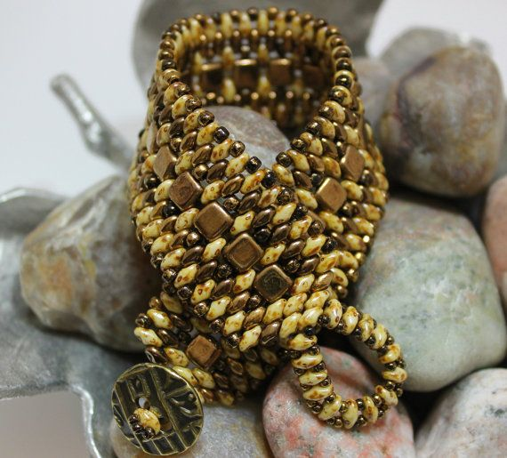 Czechmate Tile Superduo Cuff Bracelet Embellished with Toho Seed Beads  Czechmate Tile Beads ~ 6mm Bronze SuperDuo Seed Beads ~ 2/5mm Bronze;