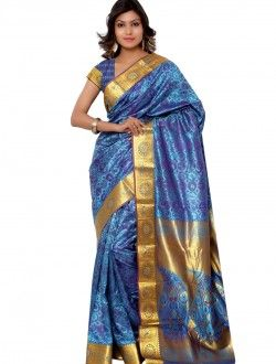 Casual Wear Blue Art Silk Printed Saree