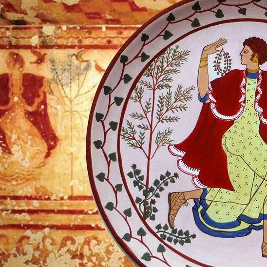 Etruscan dancer from her ancient fresco to an ornamental  plate in your home. .....