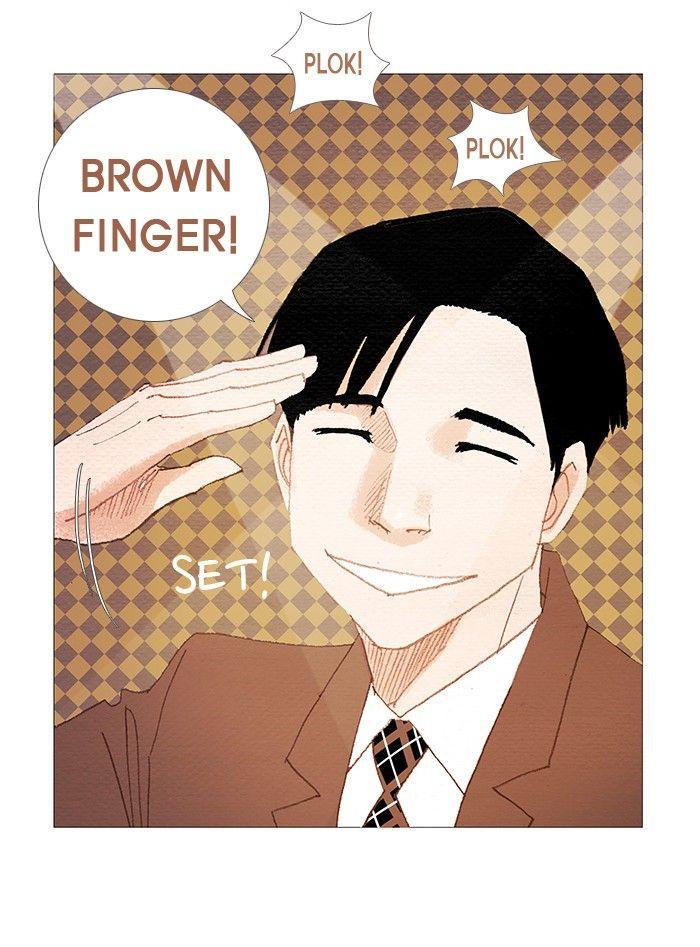 Brown finger **