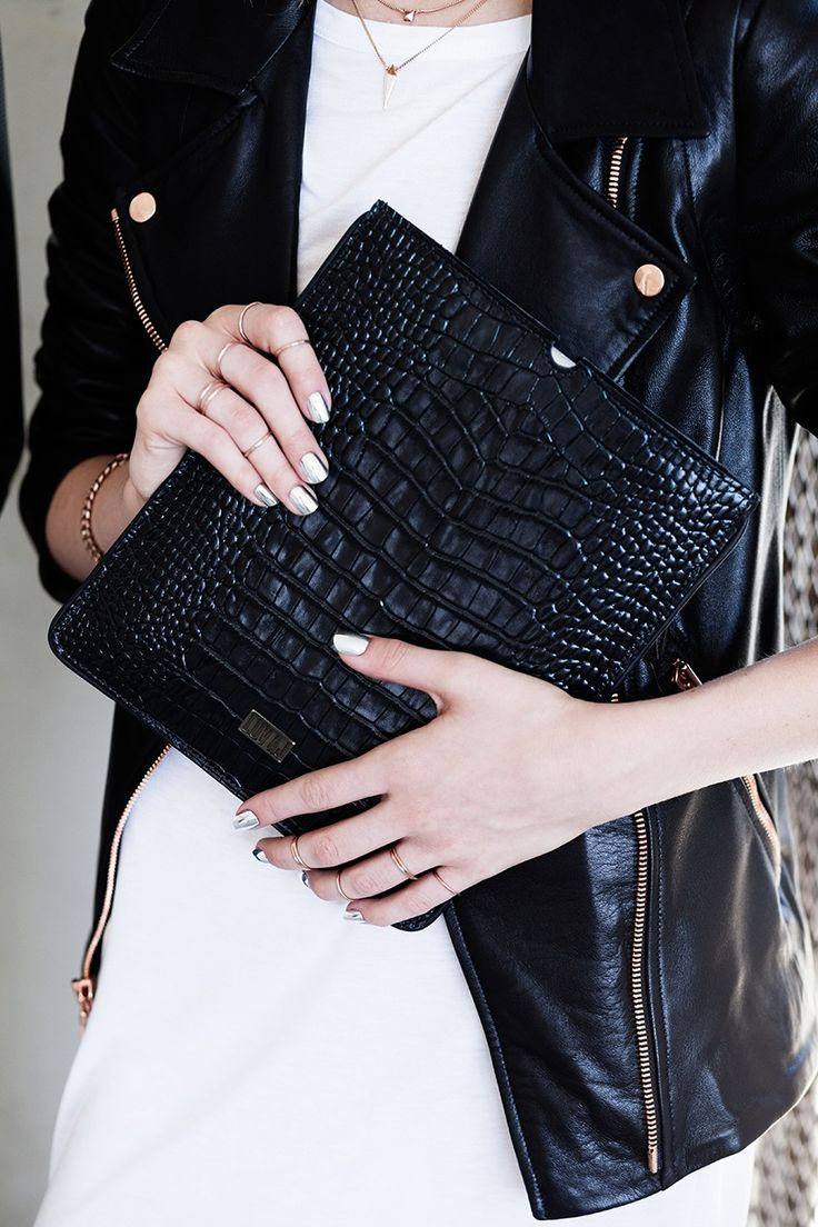 .Black Collection: Black jacket, black clutch. Love this combination.