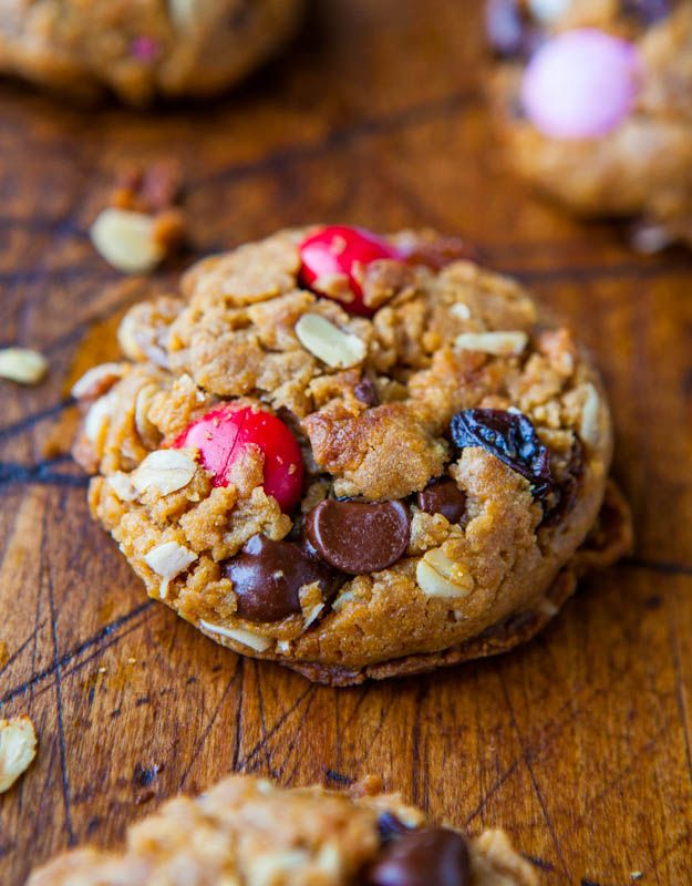 Trail Mix Peanut Butter Cookies (GF) - NO Butter & NO Flour. Just trail mix baked right in!  averiecooks.com