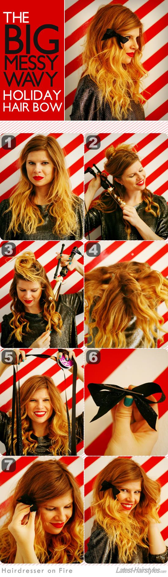 Big messy waves with a bow! Full tutorial here...     http://www.latest-hairstyles.com/tutorials/big-messy-waves.html