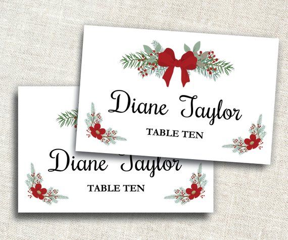 Holiday Place Card Template Editable Place Card Ms Word Placecard Template Christmas Pl Christmas Place Cards Place Card Template Christmas Tag Templates
